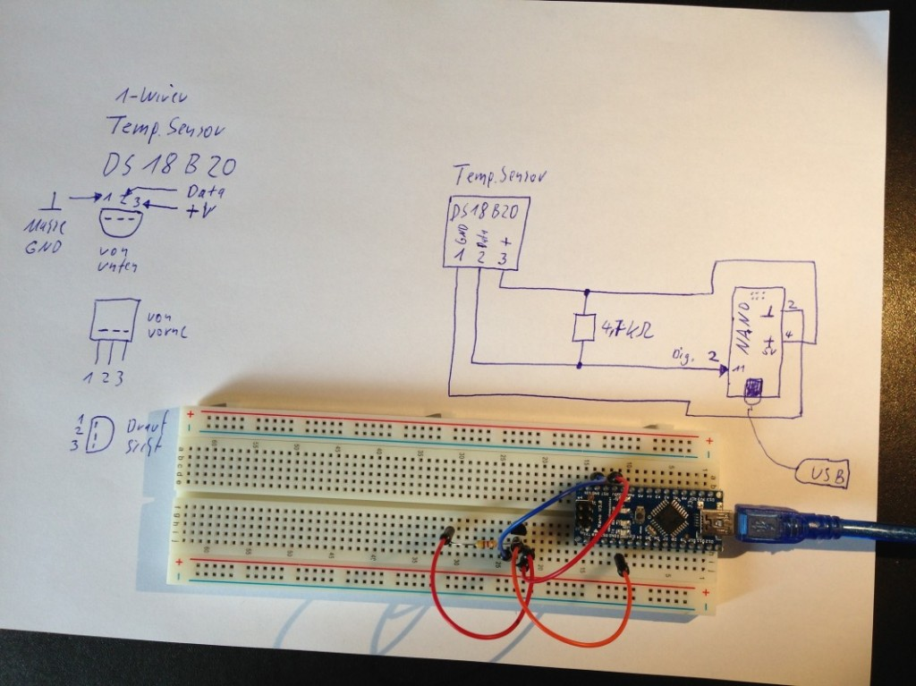 Arduino Nano Temp. Messung via 1-Wire