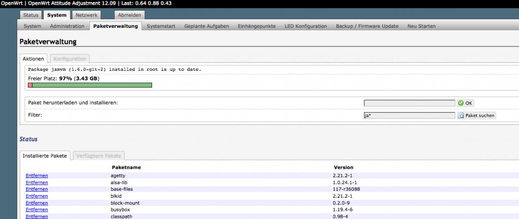 Gui von OpenWrt - Luci - Paketverwaltung