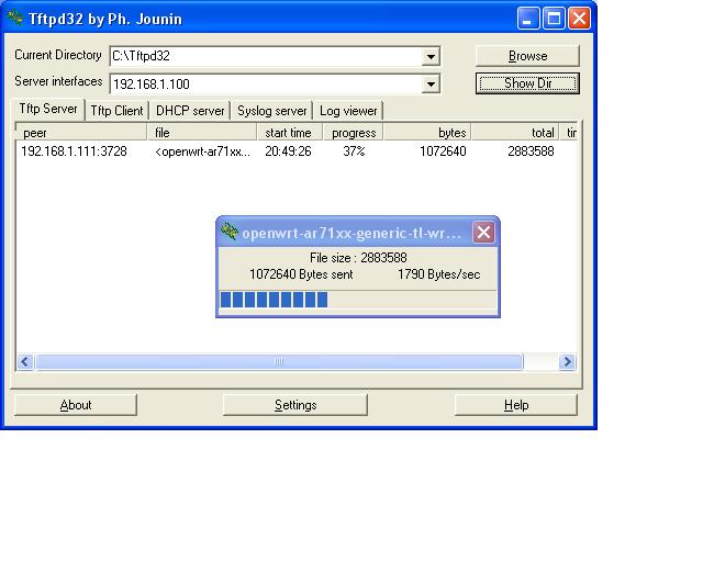 Einstellungen des TFTP Servers