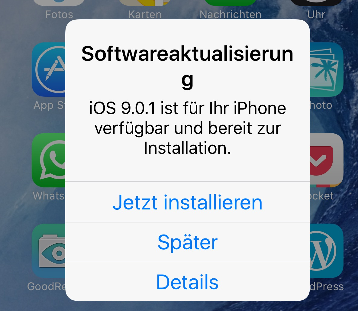 Apple Update auf ios 9.0.1