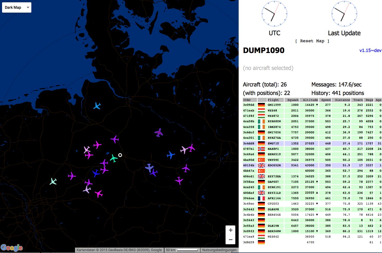 Dump1090 (V 1 15 dev) dark map vom Raspberry Pi Server trotz