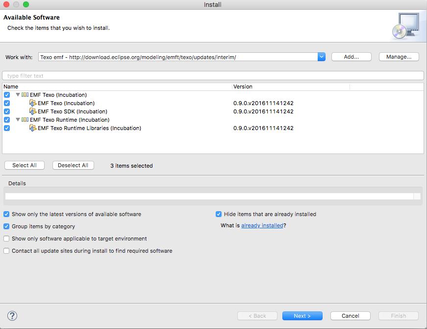 Texo und emf mit diagram editor luft auch mit eclipse oxygen1a emf installieren ber die oxygen install seite ccuart Image collections