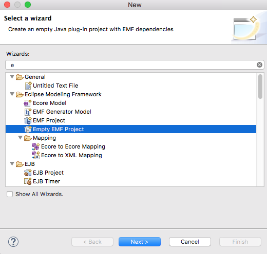 Texo und emf mit diagram editor luft auch mit eclipse oxygen1a dann ein neues leeres emf projekt anlegen ccuart Image collections