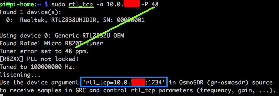 Wie können SDR Signale vom Raspberry Pi SDR-Server per tcp
